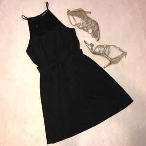 Little Black High Neck Dress
